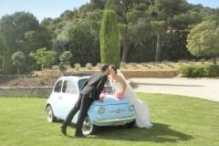 Mariage Fiat 500 Bleue