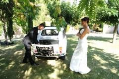 Mariage en Fiat 500 Blanche